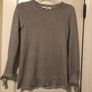 LOFT Crew neck striped sweater with cuff details